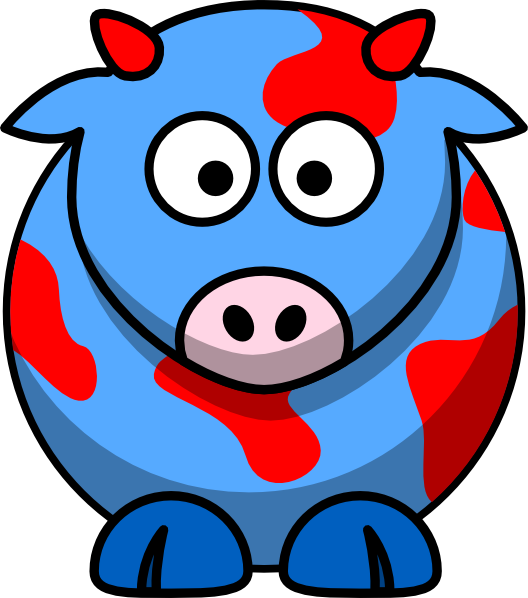 Cow clip art profile. Blue red at clker