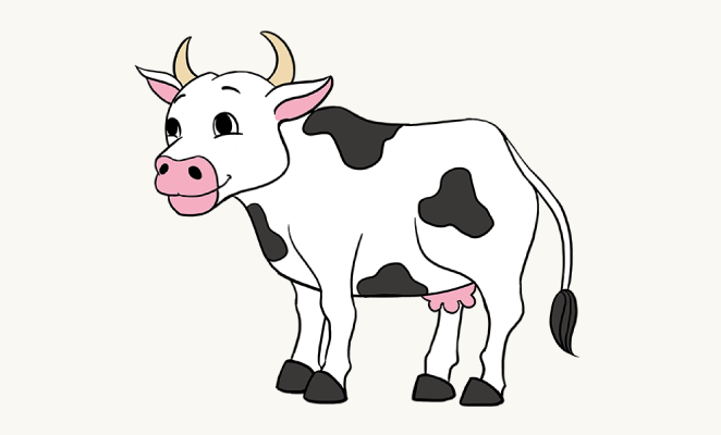 Cow clip art realistic. Drawing skill