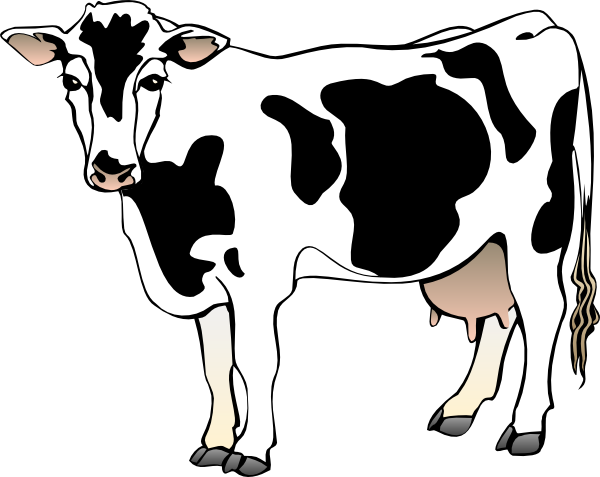 Free . Cow clip art realistic image black and white stock