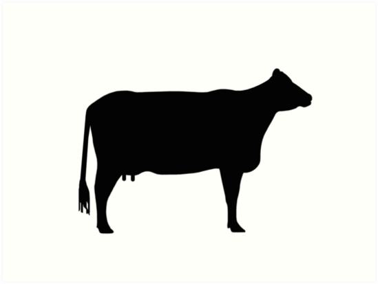 Cow clip art silhouette. As sign or clipart