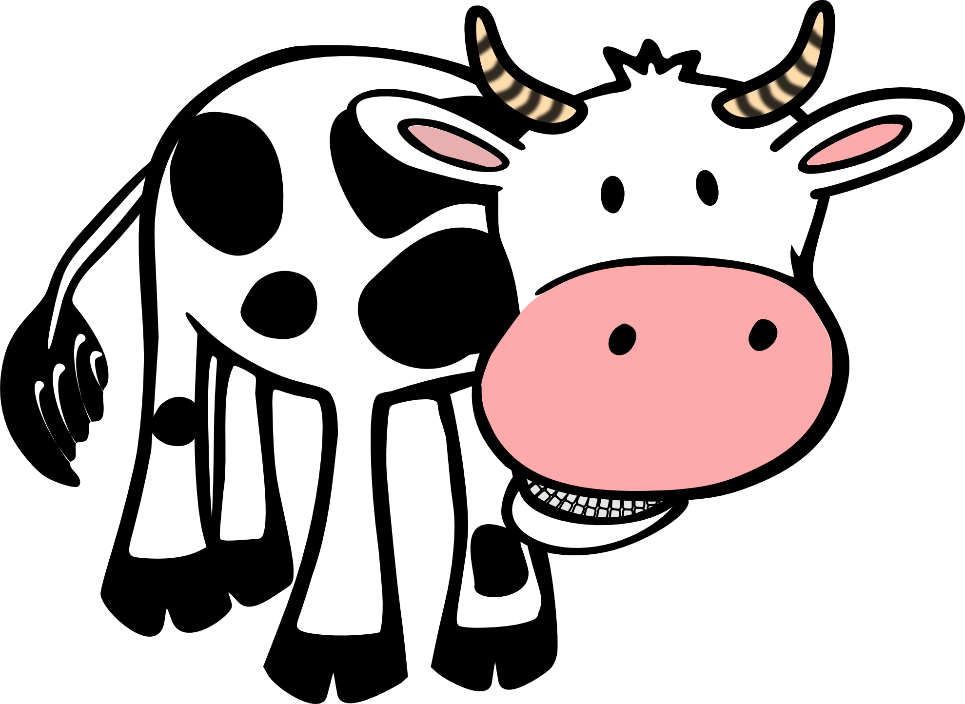 Cow clip art simple. Free black and white