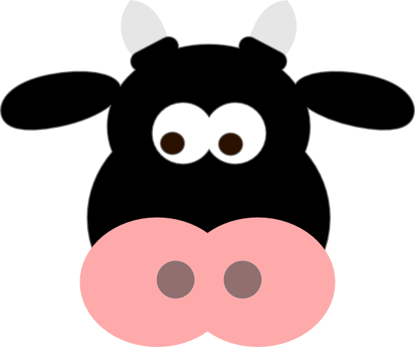 Cow face png. Black clip art at