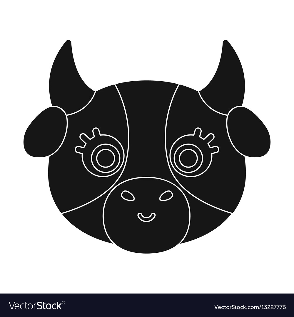 Cow muzzle. Icon in black style