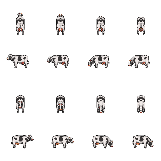 Cow sprite png. Lpc style farm animals