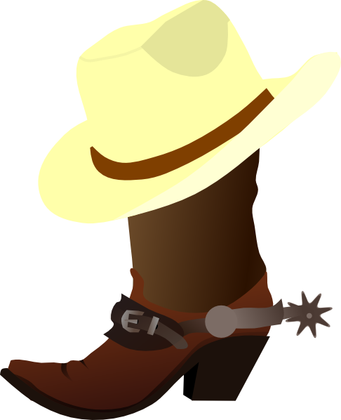 Cowboy boots and hat png. Clip art at clker