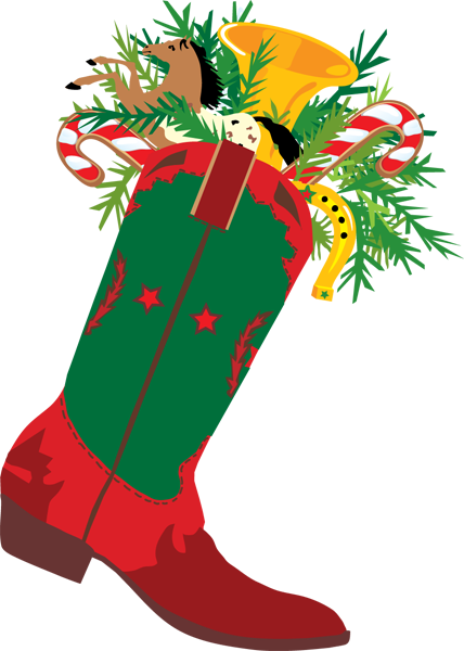 Stocking vector simple. A cowboy christmas boot