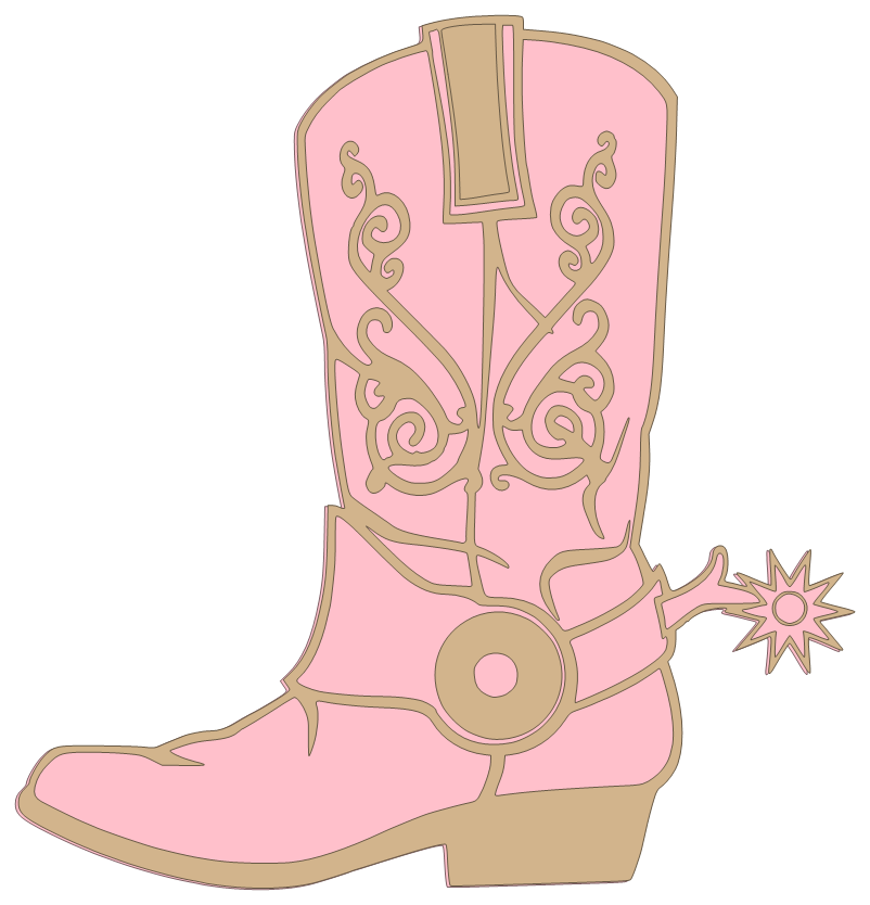 Transparent boot pink. High heeled cowgirl resolved