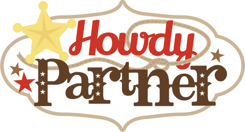 Cowgirl svg. Howdy partner scrapbook title