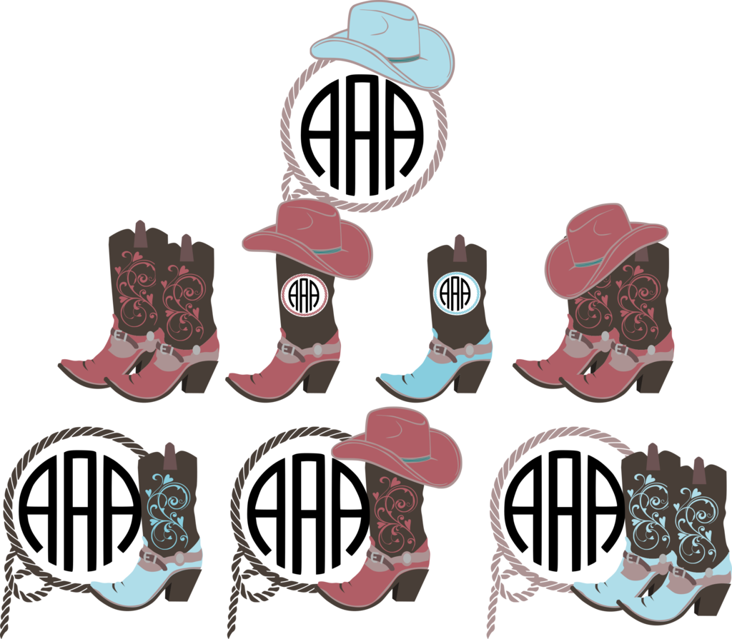 Boots svg hat. Cowgirl monogram frame cut