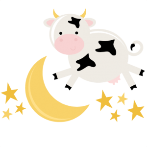 Drawing cow jumping. Over the moon svg