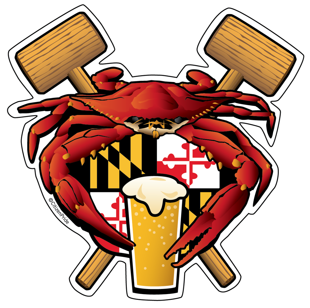 Crabs clipart crab feast. Maryland crest sticker decal