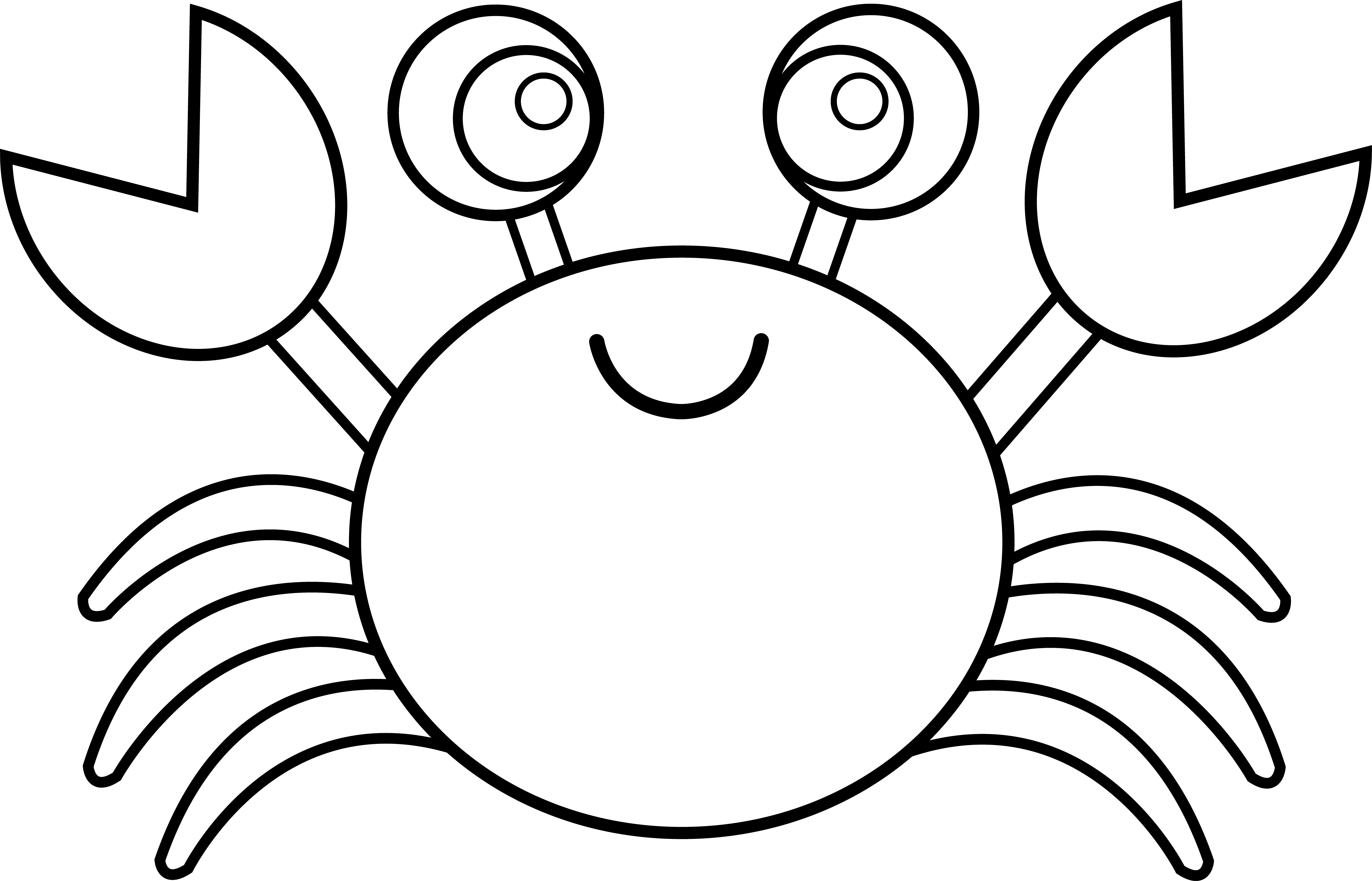 Crabs drawing cute. Crab line art free