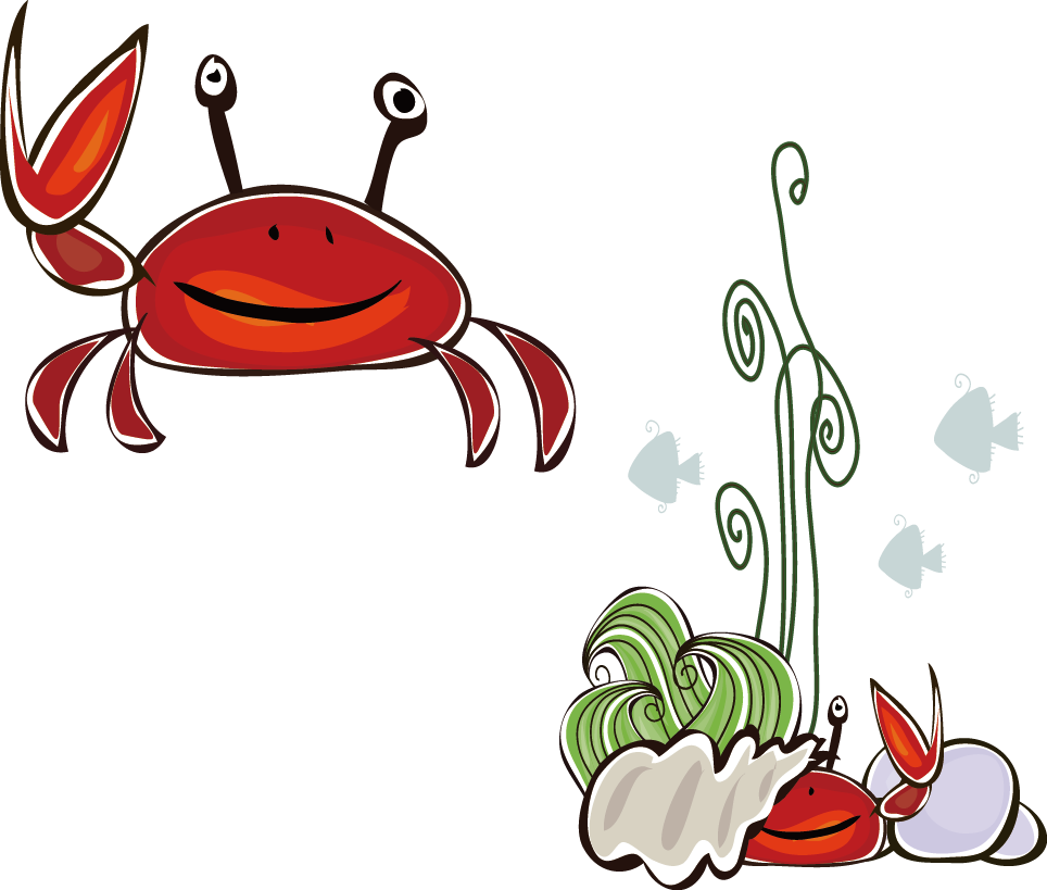 Crabs drawing flower. Two crabe cangrejo transprent