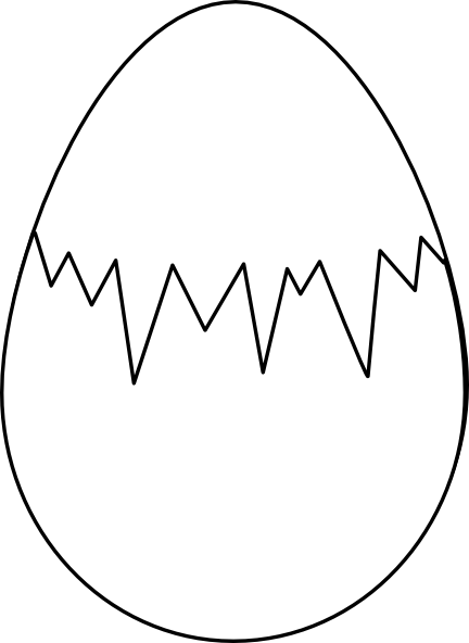 Cracked drawing easter egg. White with fracture clip