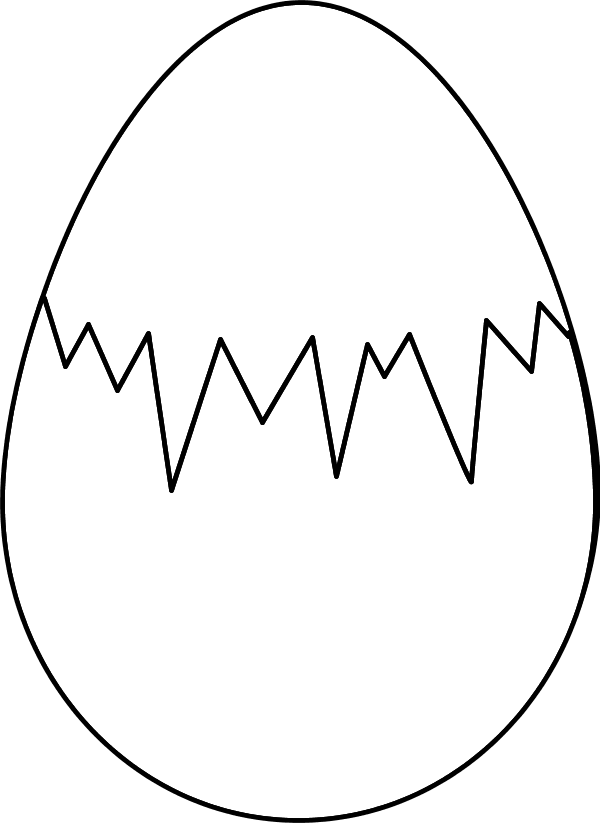 Cracked drawing easter egg. Svg black and
