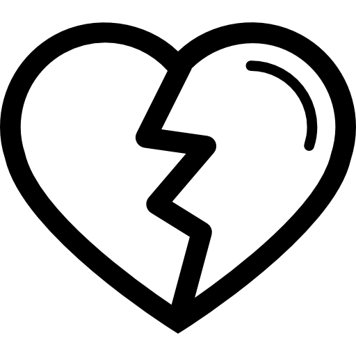Cracked drawing heart. Shape with crack variant