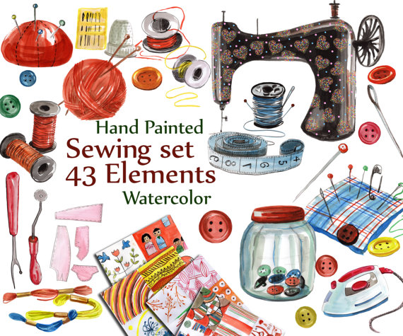 Craft clipart craft item. Sewing digital set watercolor