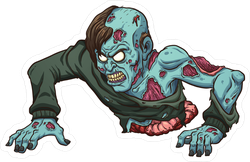 Crawling zombie png. With no legs sticker
