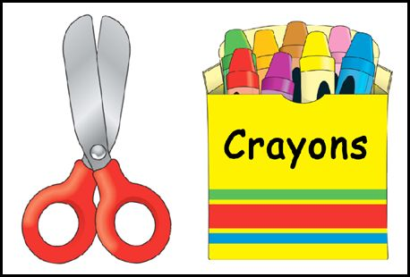 Crayons clipart scissors. And