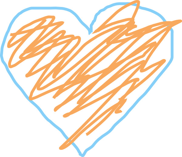 Heart, png crayon. Blue and orange heart