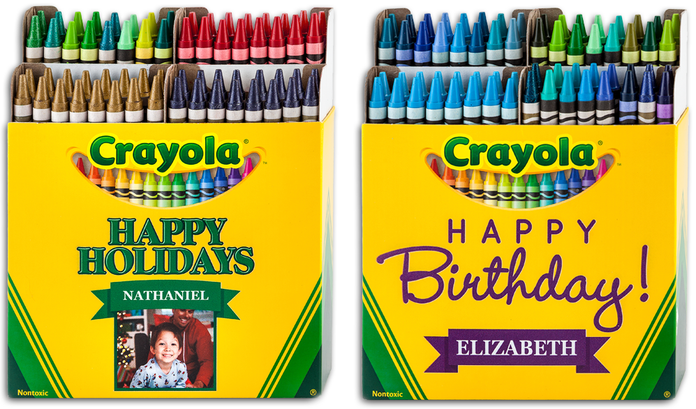 Crayons transparent box 64. Images of group with