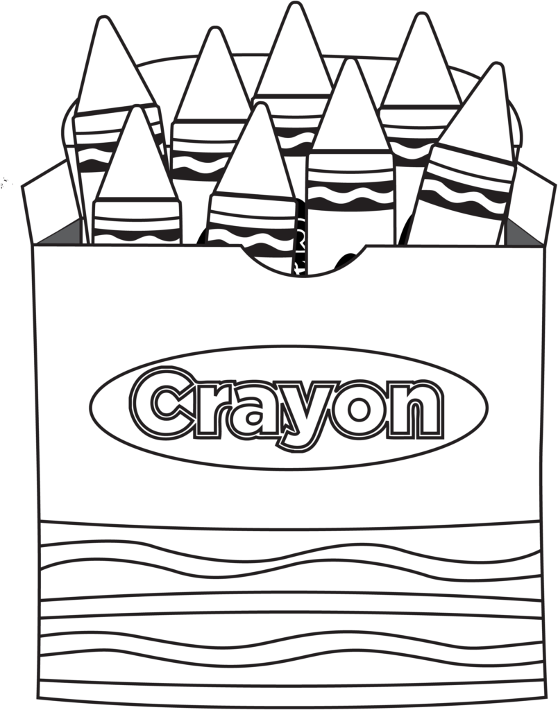 Crayons transparent colouring page. Crayola svg black