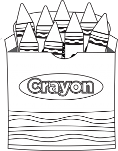 Crayons transparent colouring page