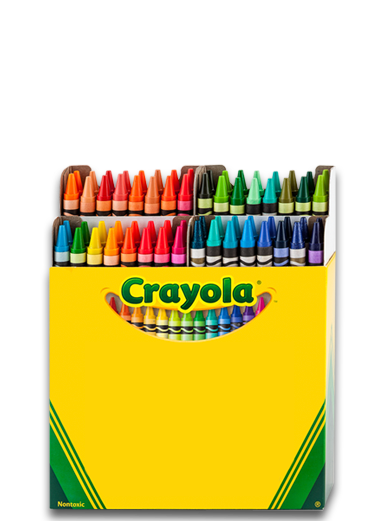 Crayons transparent open box. Boxes of who