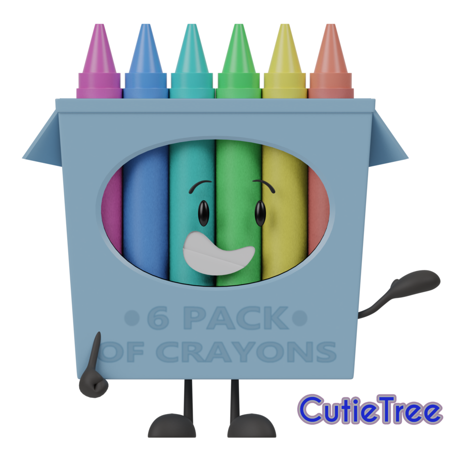 Crayons transparent open box. Objectshow of by cutietree
