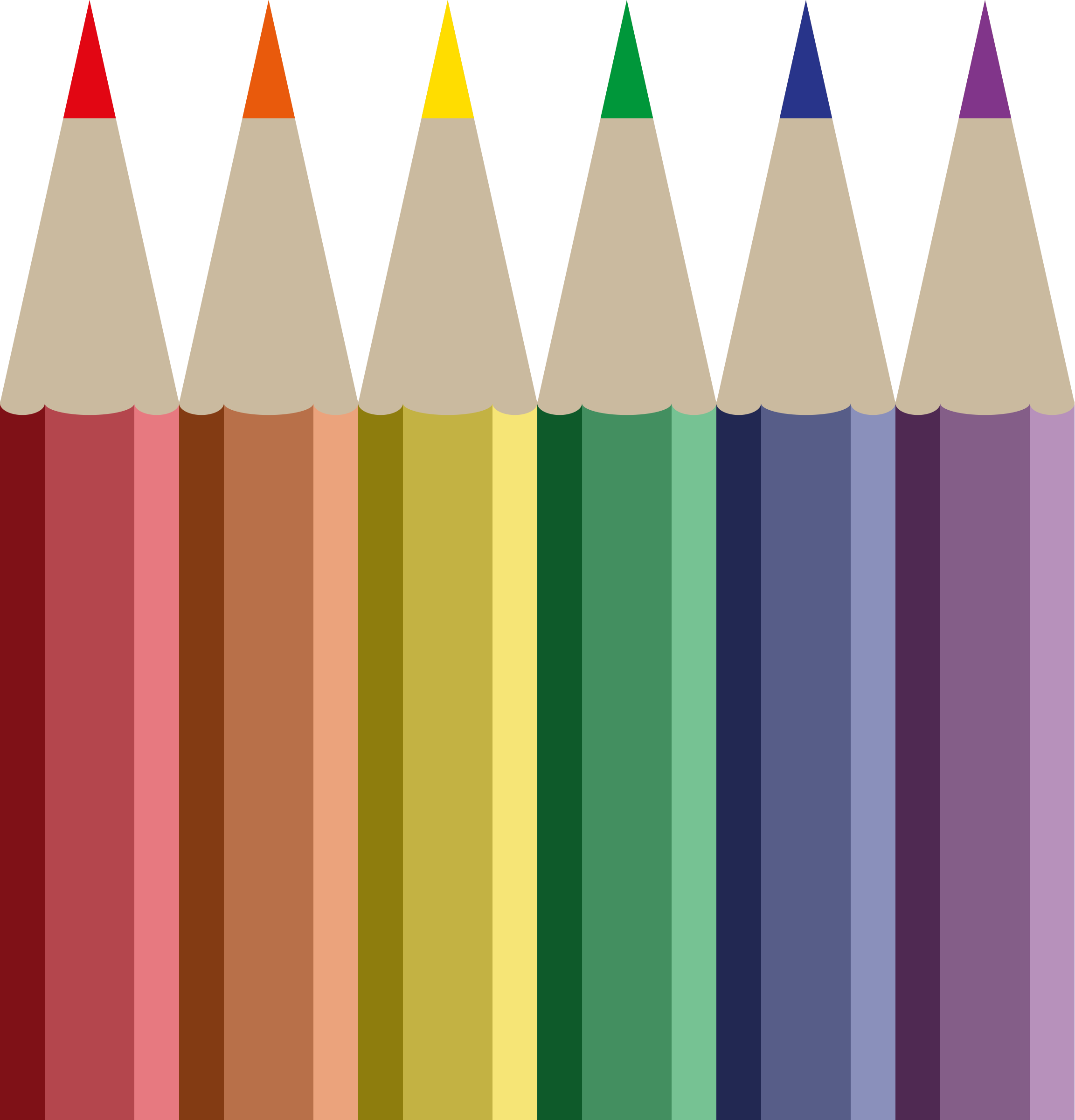 Crayons transparent row. Collection of free crayoned