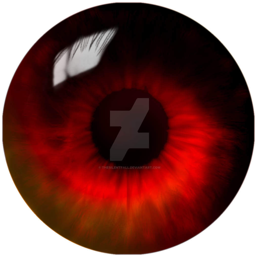 Crazy eye png. Red swirl finished by