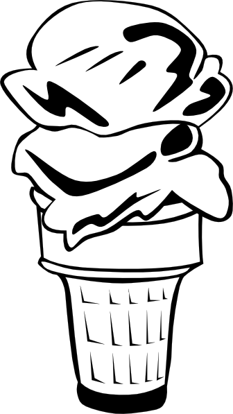 Sundae black and white. 3 clipart ice cream cone svg royalty free download