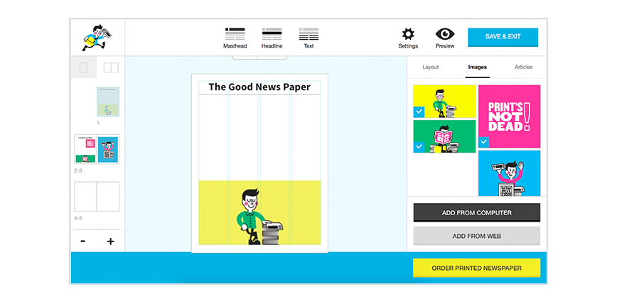 Create a png online. Newspaper with arthr our