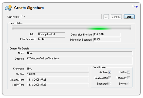 Create a png signature. Osforensics compare and analyze