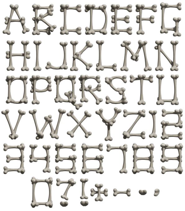 Create ttf font from png. Buy bone to unique