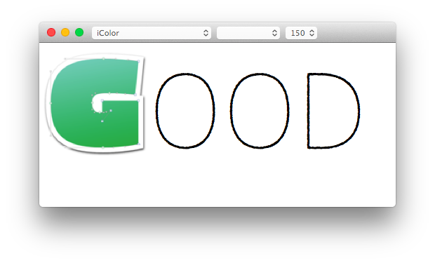 Create ttf font from png. Creating an apple color
