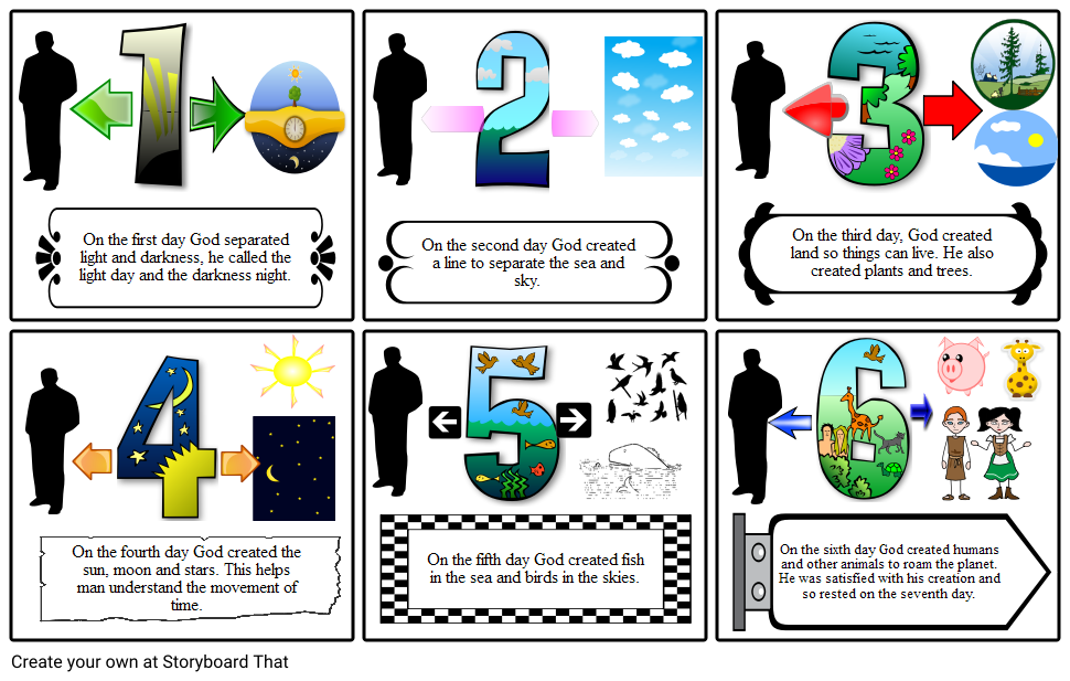 Creation clipart sixth day. Genesis storyboard by dovemic