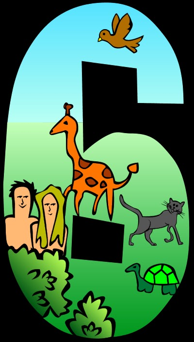 Creation clipart sixth day. Animals and people theme