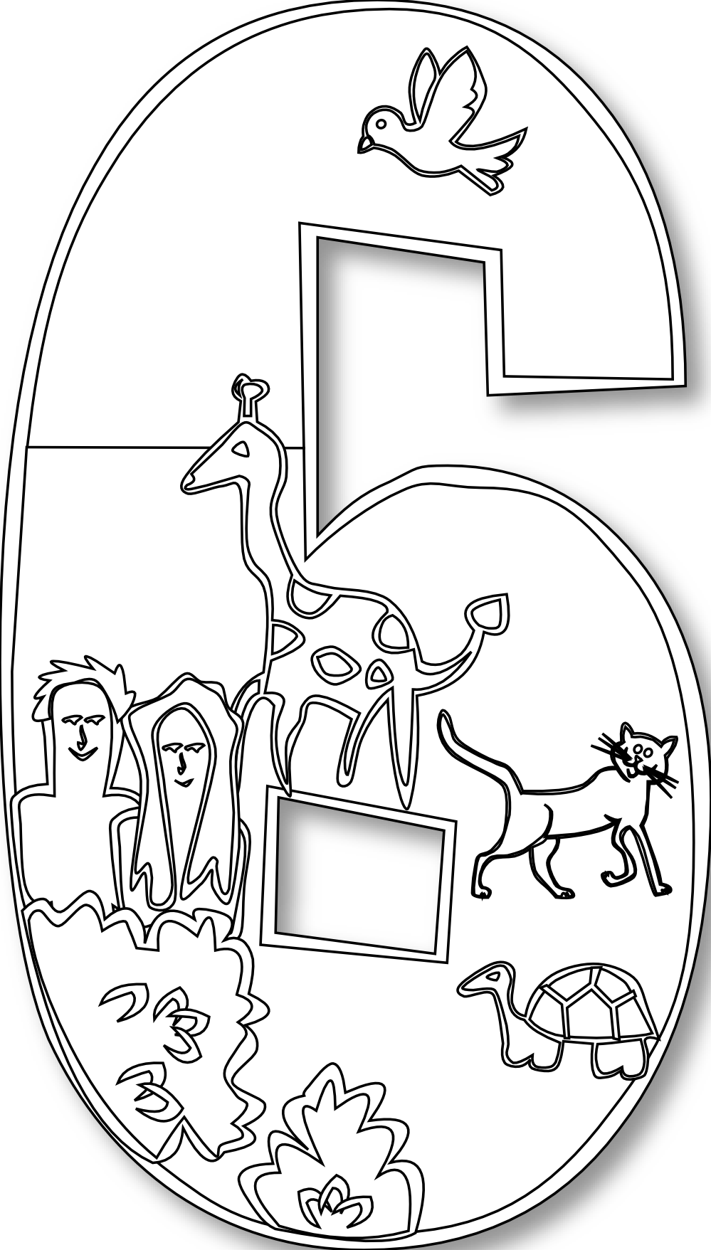 Creation drawing. Number clipart black and