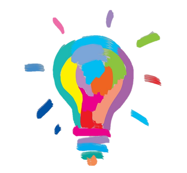 Drawing creativity colorful. Incandescent light bulb stock