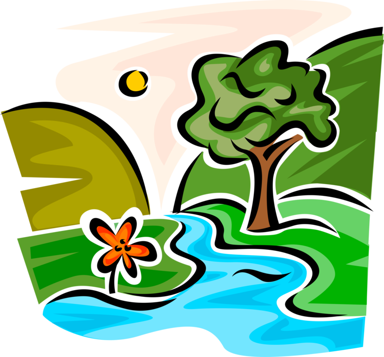 Mountain stream with trees. Creek vector picture freeuse download