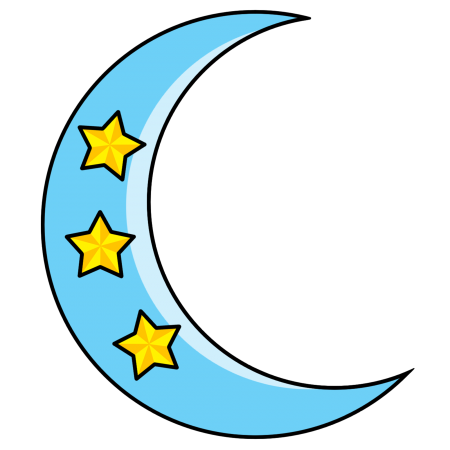 Crescent clipart. Cute blue moon with