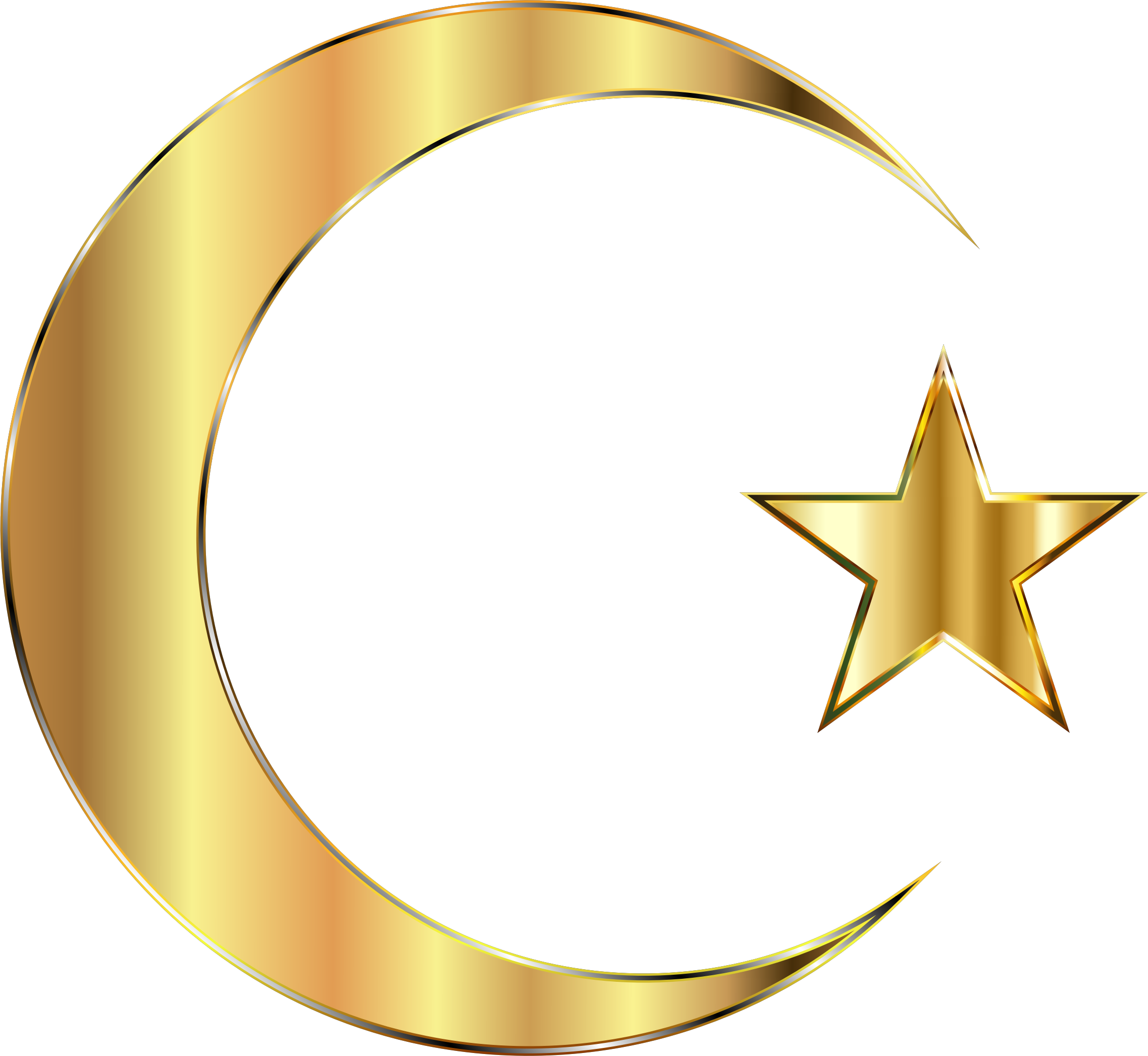 Crescent clipart vector. Golden moon and star