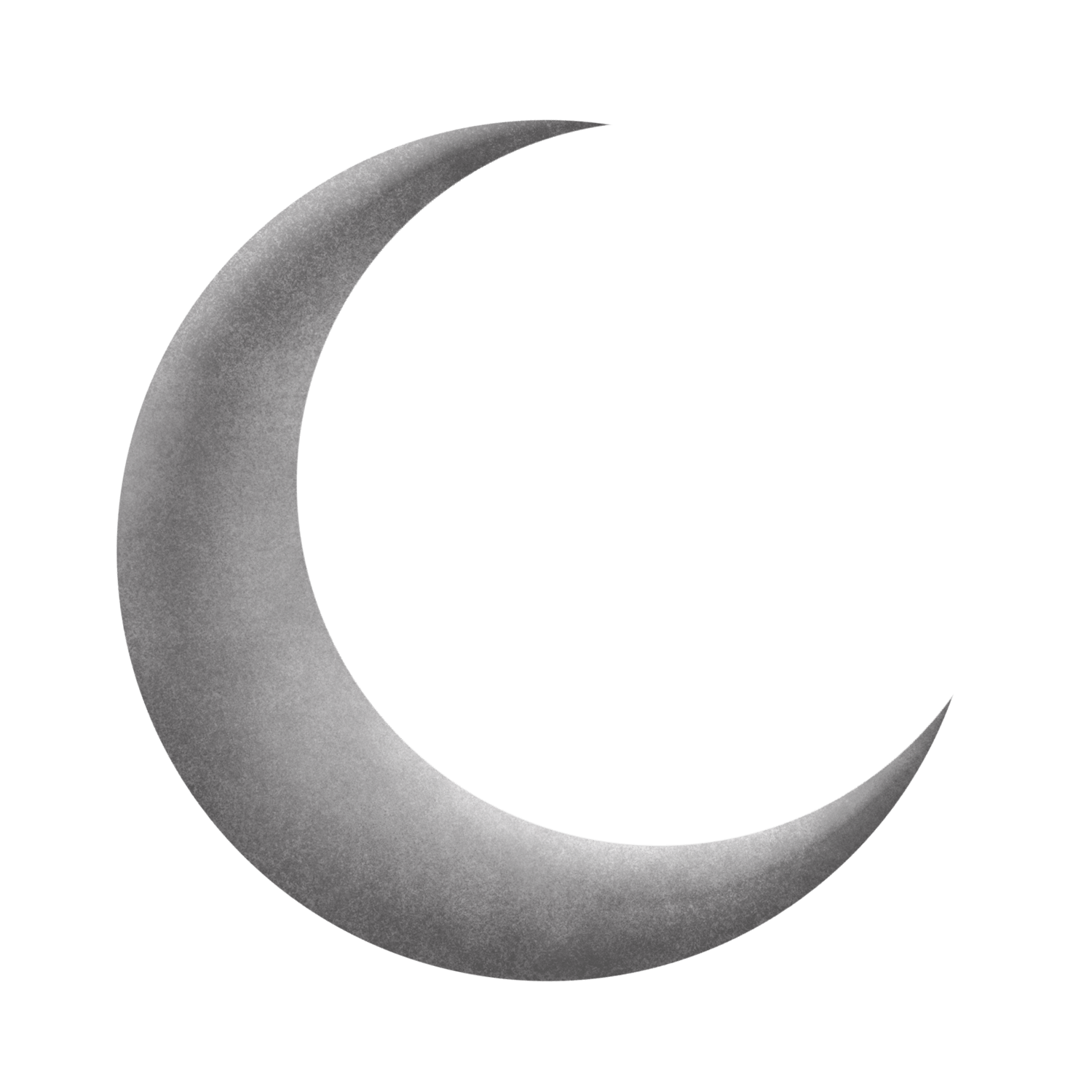 Crescent moon png. Silver grey transparent stickpng