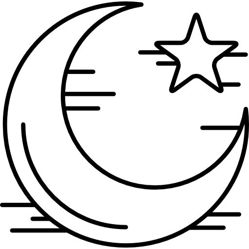 Crescent vector coloring. Star and moon free