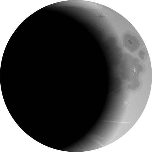 Solar partial star sun. Crescent vector eclipse moon image black and white