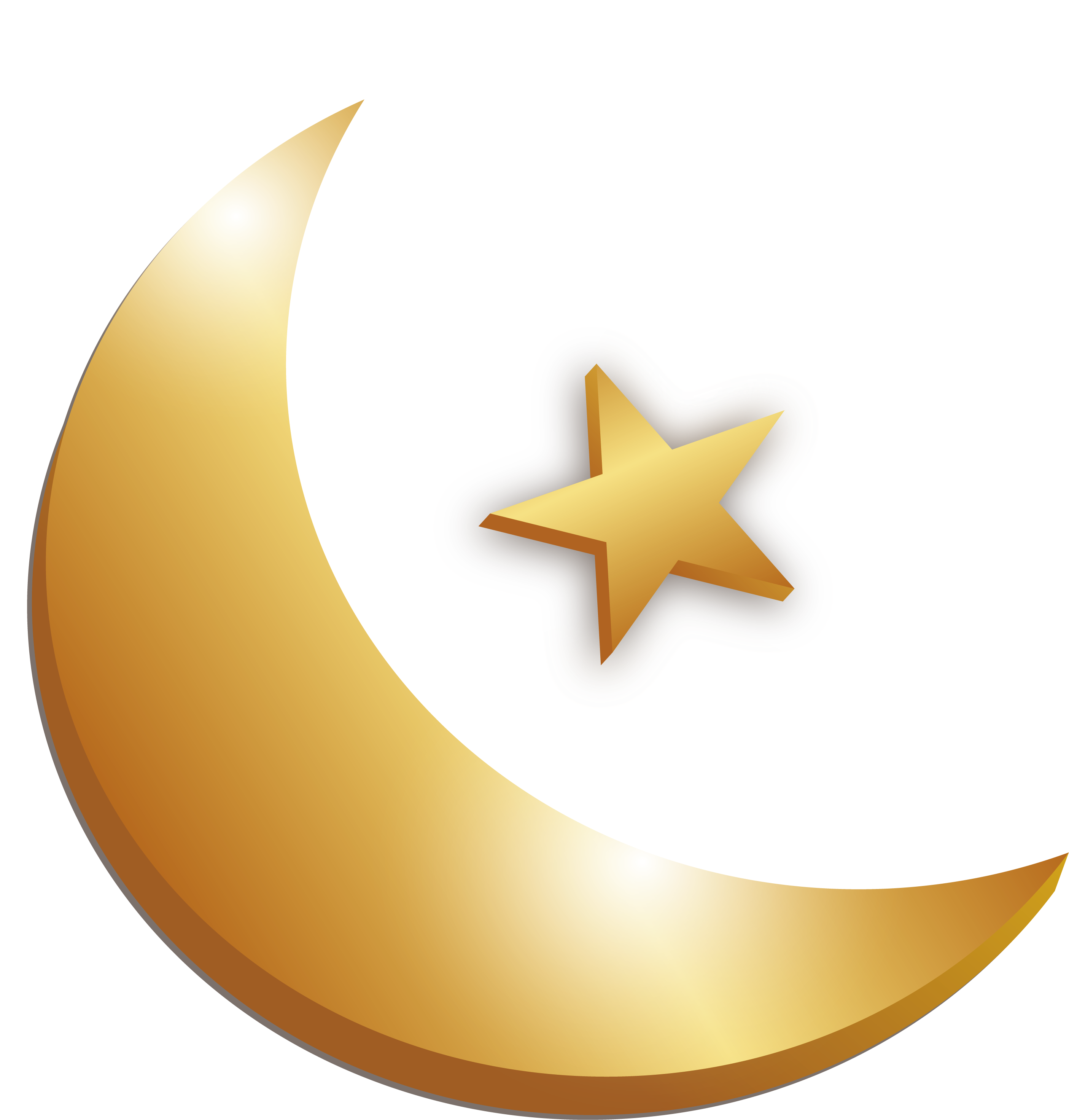 Crescent vector gold. Clipart moon cute borders