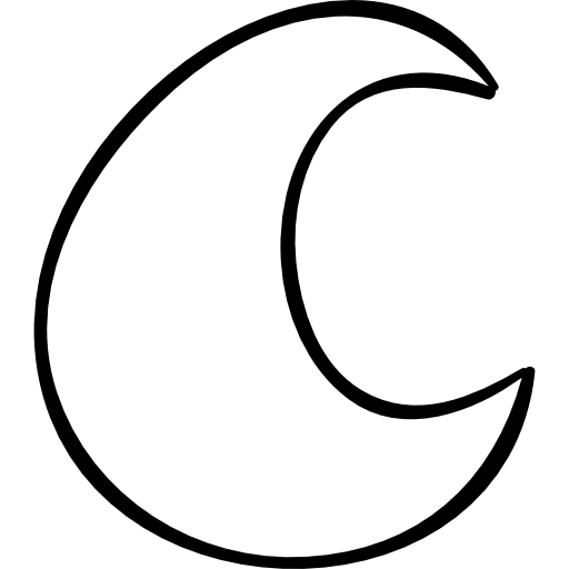 Crescent vector hand drawn. Moon outlined shape free