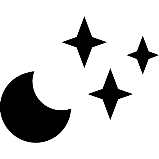 Crescent vector moon star. Clear night weather symbol