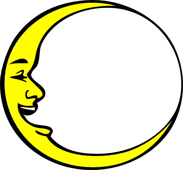 Crescent vector yellow. Moon smiling clip art